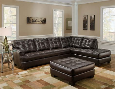 brown leather sectional living room ideas brown leather tufted sectional chaise lounge sofa