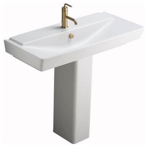 kohler k 5149 1 hw1 reve 39 quot pedestal lavatory in honed white contemporary bathroom sinks