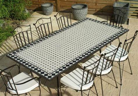 table jardin mosaique rectangle 200cm c 233 ramique blanche et