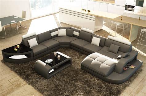 canap 233 d angle en cuir italien 8 places nordik avec table offerte gris fonc 233 et blanc angle