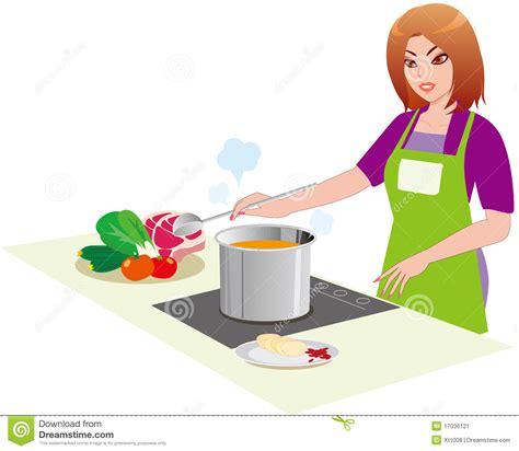 le femme dans la cuisine illustration de vecteur image du famille 17036121