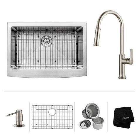 Home Depot Kraus Farmhouse Sink by Kraus All In One Farmhouse Apron Front Stainless Steel 33