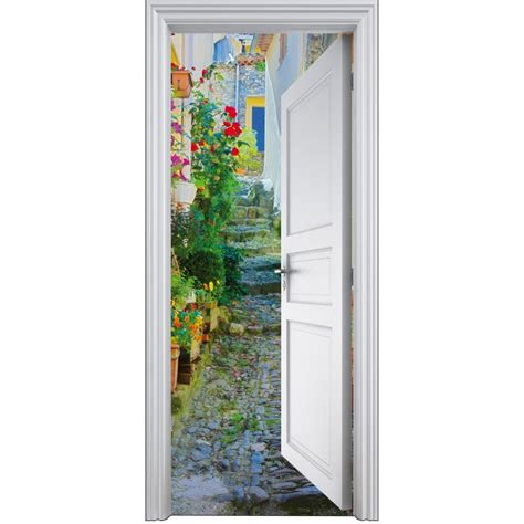stickers porte trompe l oeil d 233 co rue 90x200cm d 233 co stickers