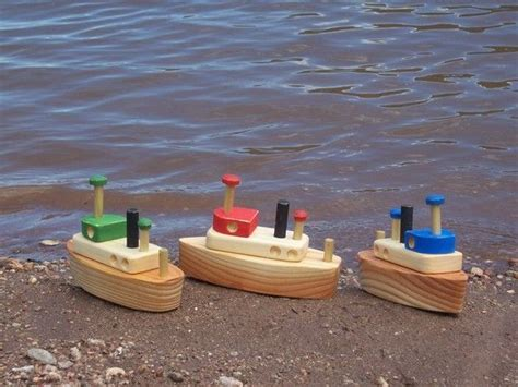 Toy Boat Decoration by Wooden Tug Boat Toy Boat Collector Decoration Sandbox Toy