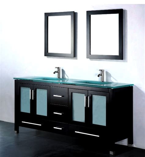 Amara 60 Inch Modern Glass Top Double Bathroom Vanity