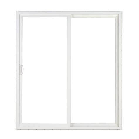 simonton 96 in x 80 in 2 panel white contemporary vinyl sliding patio door w prosolar low e