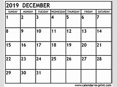 December 2019 Calendar printable calendar template