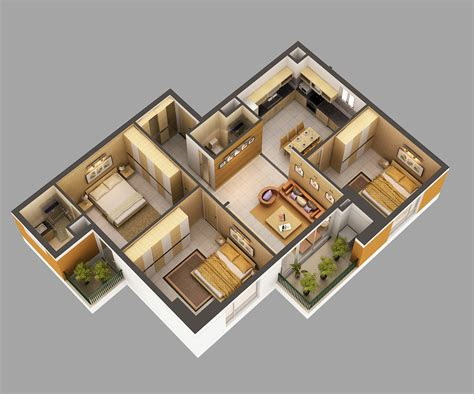 Home Decor 3d Models : 3d Model Home Interior Fully Furnished 3d Model Max