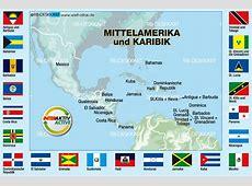 Karte von Flaggen Mittelamerika + Karibik 21 Länder
