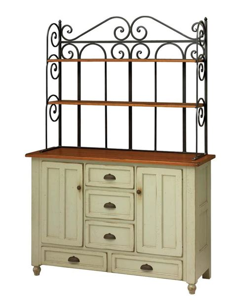 Wrought Iron Bathroom Vanities by Amish Bedford Bakers Rack Hutch Keystone Collection