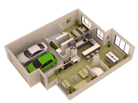 tiny house floor plans small residential unit 3d floor colored 3d home design plans 3d house plans home ideas