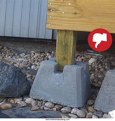 deck concrete footings vs blocks deck design and ideas