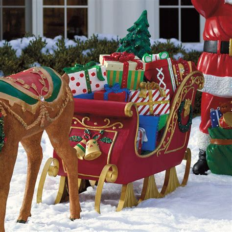Santa Sleigh Outdoor Decoration by Fiber Optic Sleigh Frontgate Outdoor Christmas
