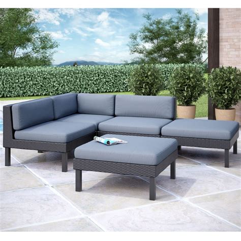 corliving oakland 5 pc sectional with chaise lounge patio set the home depot canada