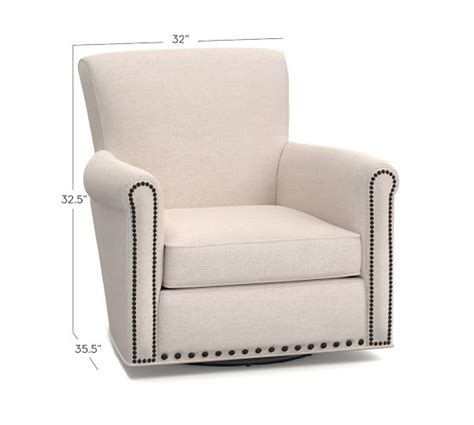 irving upholstered swivel armchair with nailheads pottery barn