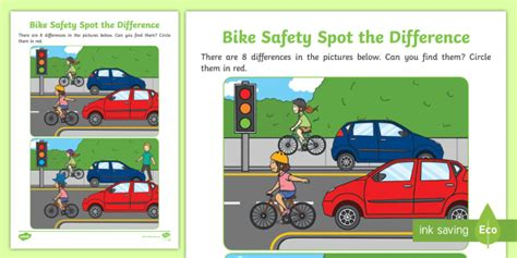 * New * Bike Safety Spot The Difference Activity Sheet