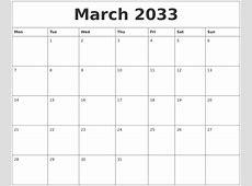 March 2033 Printable December Calendar