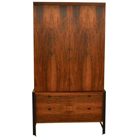 mid century romweber wardrobe or tv cabinet with steel hardware at 1stdibs