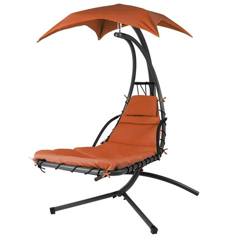 hanging chaise lounger chair arc stand air porch swing hammock chair canopy ebay
