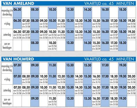 Boottijden Boot Ameland veerdienstregeling wagenborg passagiersdienst 2016