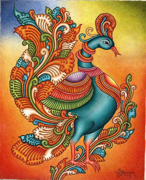 kerala mural painting handmade south indian nature bird ethnic miniature ebay