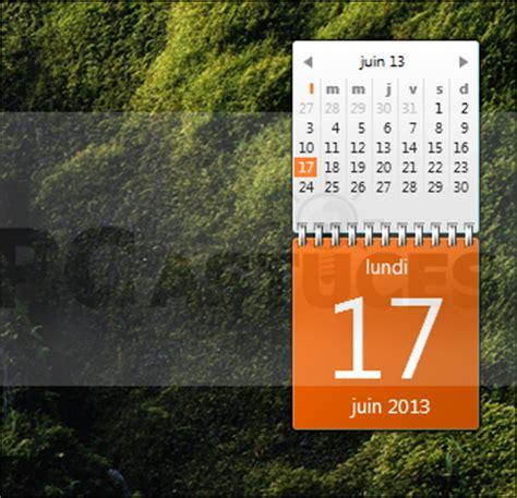 afficher un calendrier complet sur le bureau windows 7