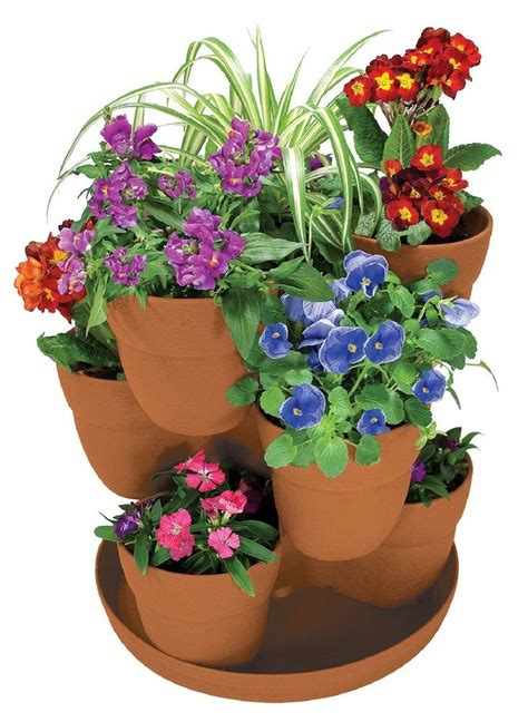 bloomers 3 tier flower tower planter herbs garden plant planters flower pots new ebay