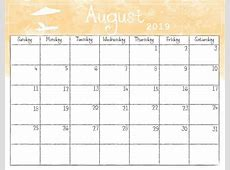 August 2019 Calendar Printable Coloring Page for Kids