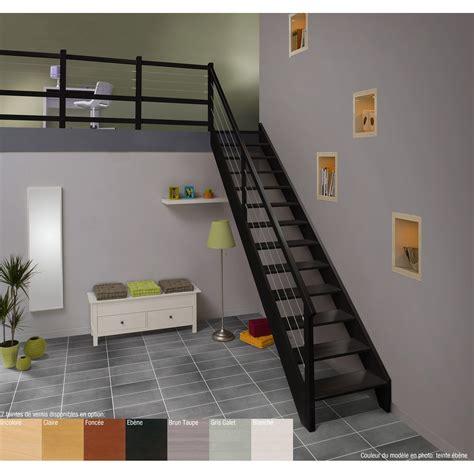 escalier quart tournant bas gauche acier structure bois marche bois leroy merlin