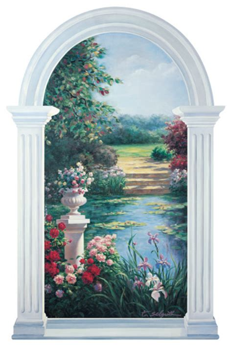 monet inspired trompe l oeil garden window mural traditional wall decals by trisha