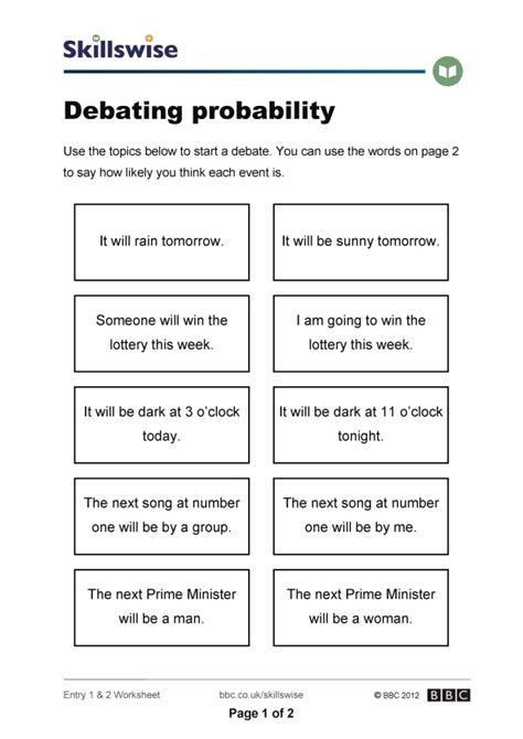 Probability Worksheet Pdf  Kidz Activities