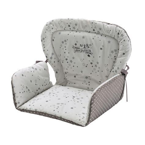coussin de chaise haute pour b 233 b 233 en coton blanche grise 25 x 30 cm songe maisons du monde