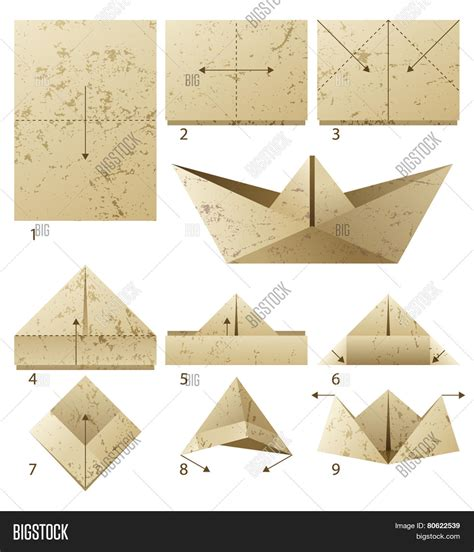 How To Make Paper Boat Download by 9 Steps Instruction How Make Paper Vector Photo Bigstock