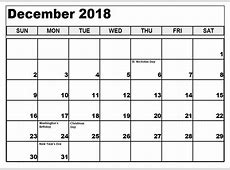 December 2018 Calendar South Africa Printable Blank