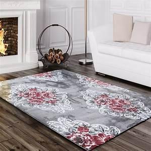 Rosa Grau Teppich : designer teppich edel mit vintage blumen muster meliert in grau creme rosa teppiche vintage teppiche ~ Markanthonyermac.com Haus und Dekorationen