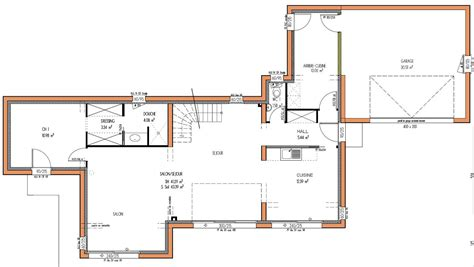 plan maison plain pied moderne toit plat maison moderne