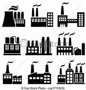 Vectors of Industrial buildings, factories, power plants ...