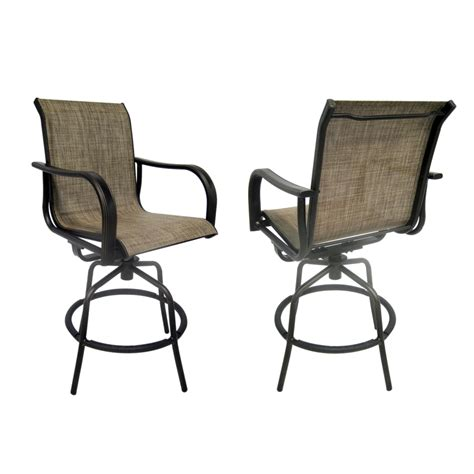 shop allen roth set of 2 tenbrook aluminum swivel patio bar height chairs at lowes
