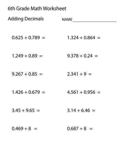Sixth Grade Math Worksheets Homeschooldressagecom