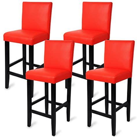 woltu 4 x tabourets de bar avec pieds en bois chaises avec dossier en cuir synth 233 tique
