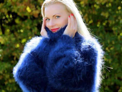 Sweater, Hand, Knit, Mohair, Turtleneck, Jumper, Cardigan, Angora, Cashmere, Alpaca, Supertanya