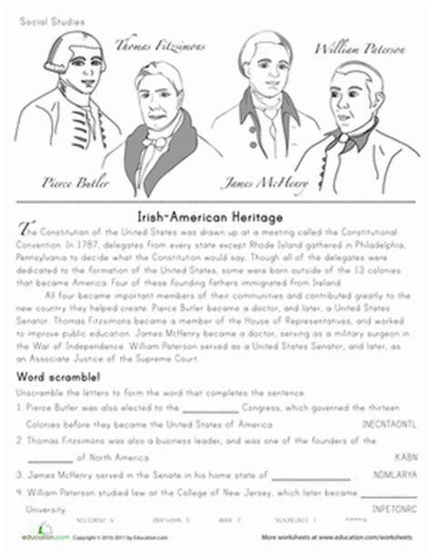 Irishamerican History Founding Fathers  Worksheet Educationcom