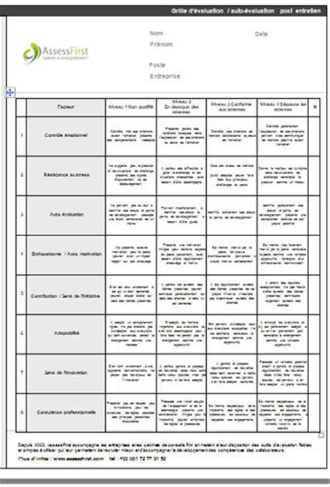 grille 233 valuation post entretien recrutement mod 232 le gratuit de lettre