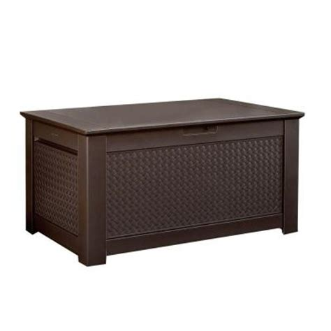 Rubbermaid Deck Box Home Depot by Rubbermaid 93 Gal Chic Basket Weave Patio Storage Bench