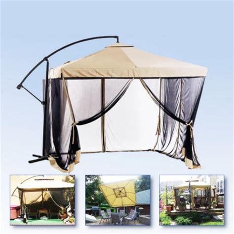 apontus offset patio umbrella instant gazebo with mesh netting walmart