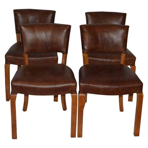 20th century deco leather dining chairs for sale at 1stdibs