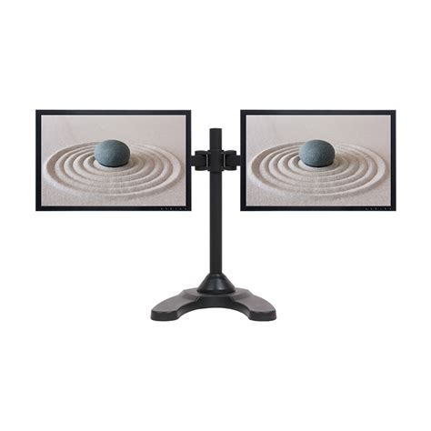 dual lcd monitor desk stand mount free standing adjustable 2 screens upto 24 quot ebay