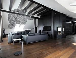Wohnzimmer Boden Grau : wohnzimmer in grau und schwarz gestalten 50 wohnideen ~ Markanthonyermac.com Haus und Dekorationen