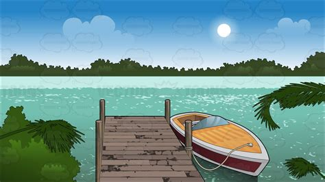 Cartoon Boat Dock by A Boat Tied Up To A Dock Background Cartoon Clipart