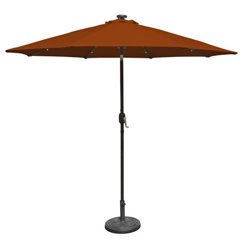 island umbrella mirage 9 ft market solar led auto tilt patio umbrella in terra cotta olefin